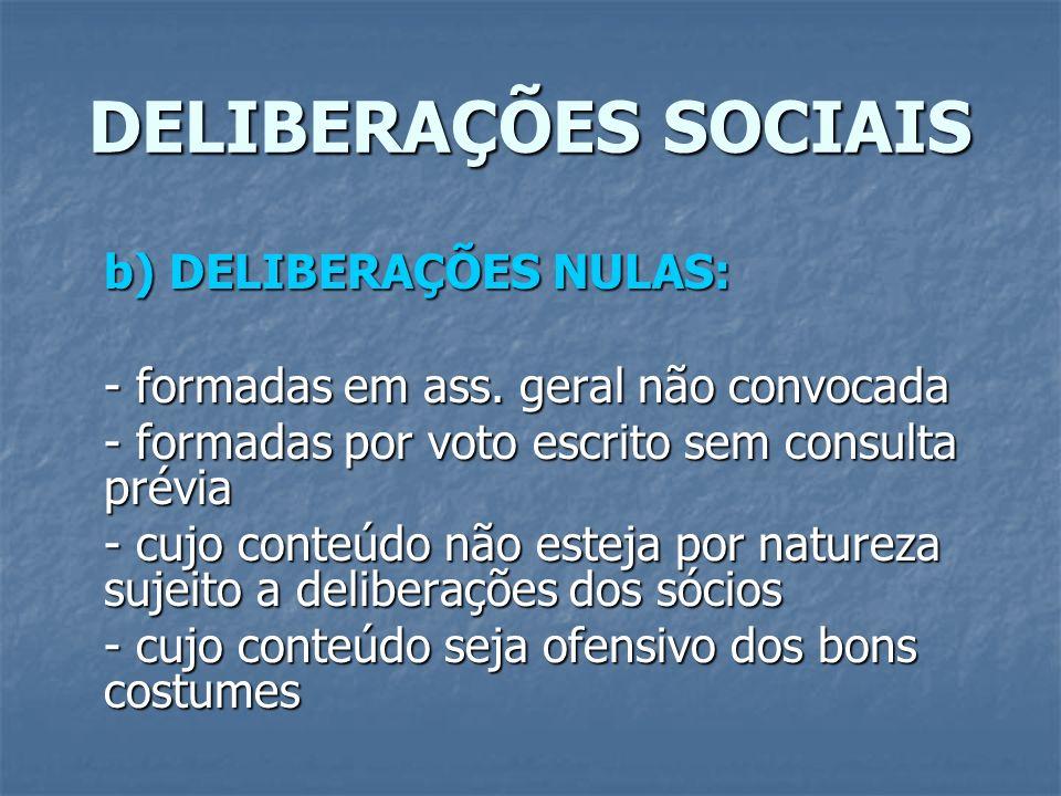 DELIBERAÇÕES SOCIAIS b) DELIBERAÇÕES NULAS: - formadas em ass. geral não convocada - formadas por voto escrito sem consulta prévia - cujo conteúdo não