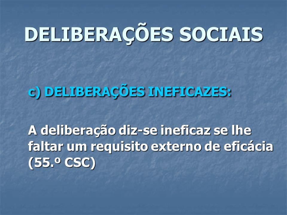 DELIBERAÇÕES SOCIAIS c) DELIBERAÇÕES INEFICAZES: A deliberação diz-se ineficaz se lhe faltar um requisito externo de eficácia (55.º CSC)