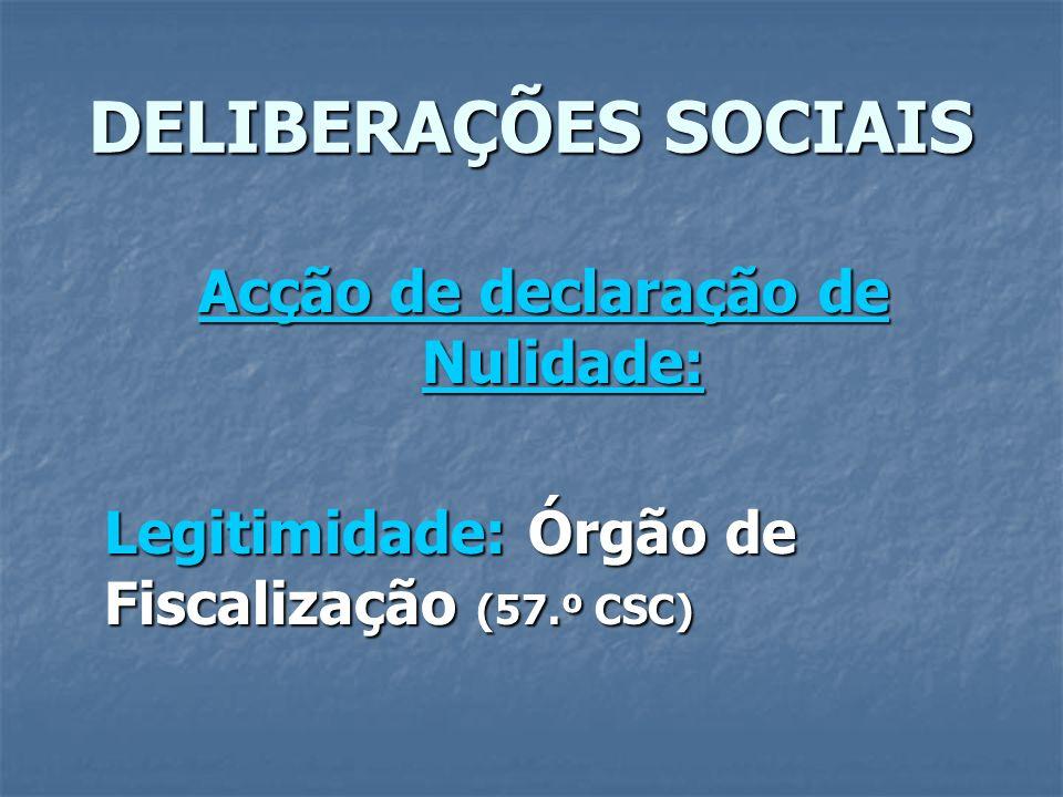 DELIBERAÇÕES SOCIAIS Acção de declaração de Nulidade: Legitimidade: Órgão de Fiscalização (57.º CSC)