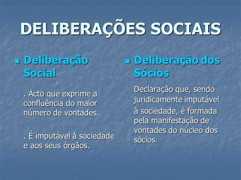 DELIBERAÇÕES SOCIAIS Deliberação Social Deliberação Social. Acto que exprime a confluência do maior número de vontades.. É imputável à sociedade e aos