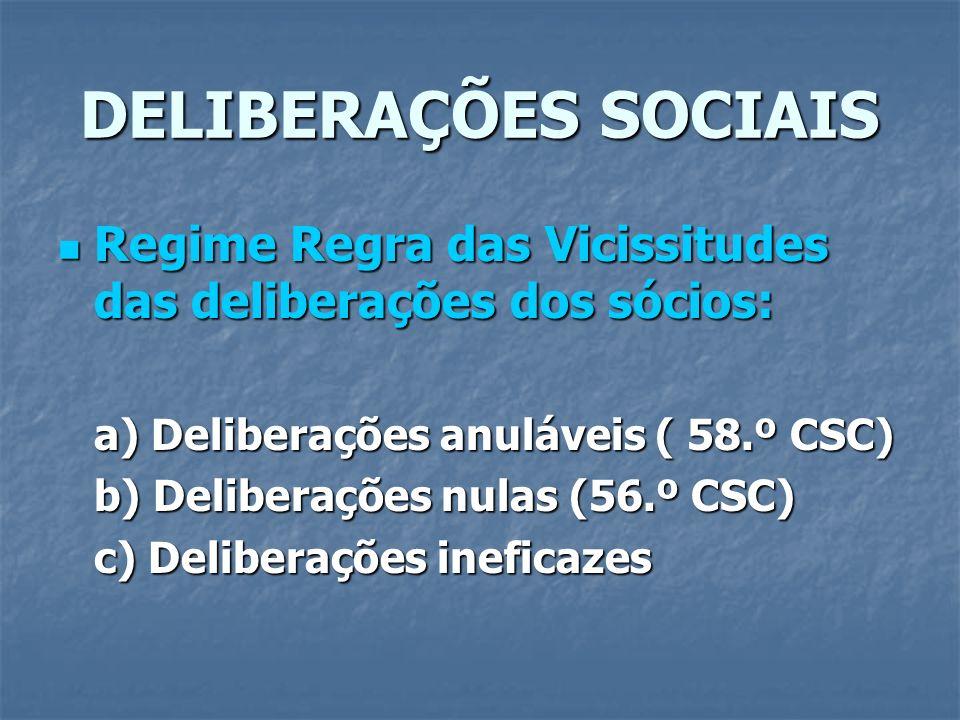 DELIBERAÇÕES SOCIAIS Regime Regra das Vicissitudes das deliberações dos sócios: Regime Regra das Vicissitudes das deliberações dos sócios: a) Delibera