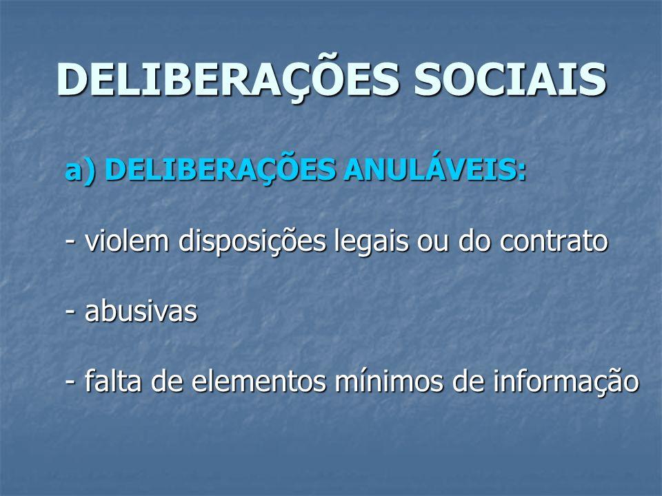 DELIBERAÇÕES SOCIAIS a) DELIBERAÇÕES ANULÁVEIS: - violem disposições legais ou do contrato - abusivas - falta de elementos mínimos de informação