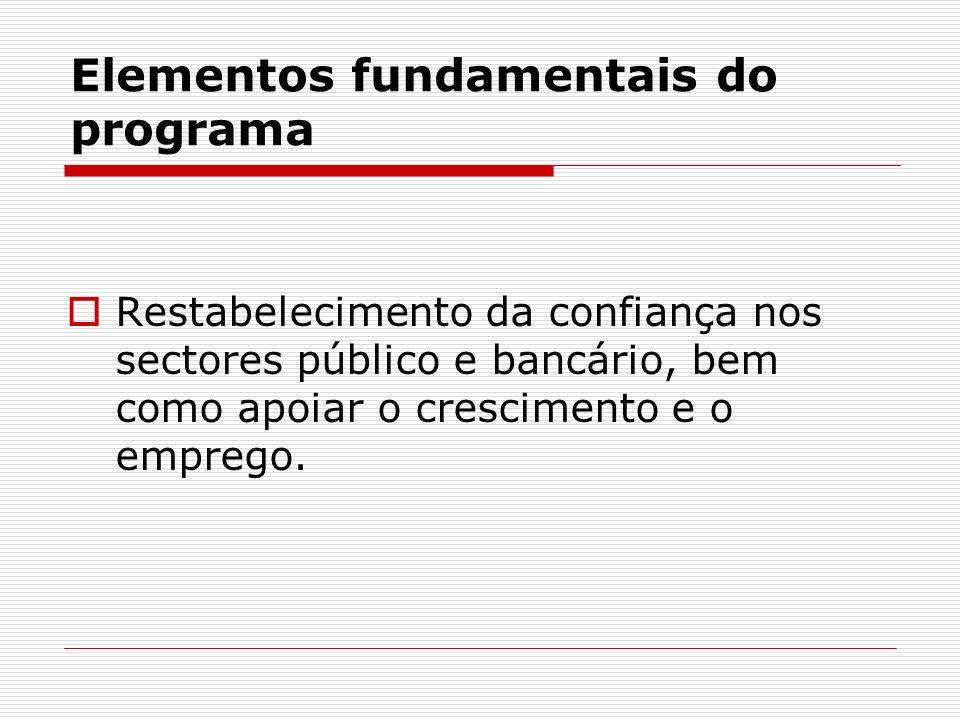 Elementos fundamentais do programa Restabelecimento da confiança nos sectores público e bancário, bem como apoiar o crescimento e o emprego.