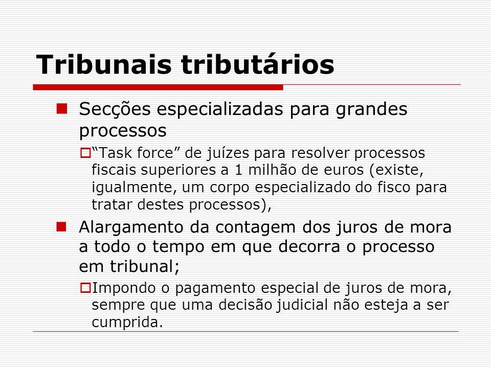 Tribunais tributários Secções especializadas para grandes processos Task force de juízes para resolver processos fiscais superiores a 1 milhão de euro