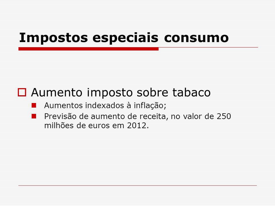 Impostos especiais consumo Aumento imposto sobre tabaco Aumentos indexados à inflação; Previsão de aumento de receita, no valor de 250 milhões de euro