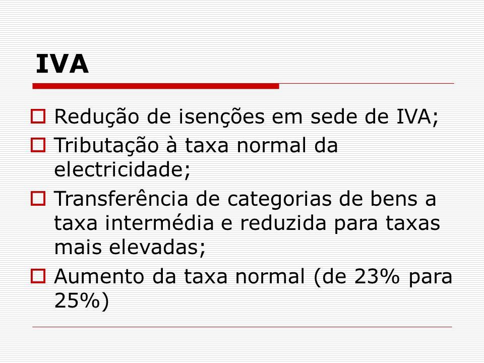 IVA Redução de isenções em sede de IVA; Tributação à taxa normal da electricidade; Transferência de categorias de bens a taxa intermédia e reduzida pa