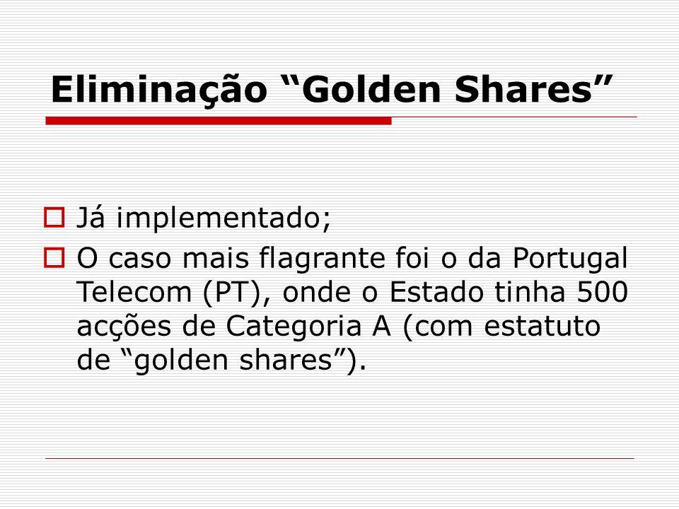Eliminação Golden Shares Já implementado; O caso mais flagrante foi o da Portugal Telecom (PT), onde o Estado tinha 500 acções de Categoria A (com est