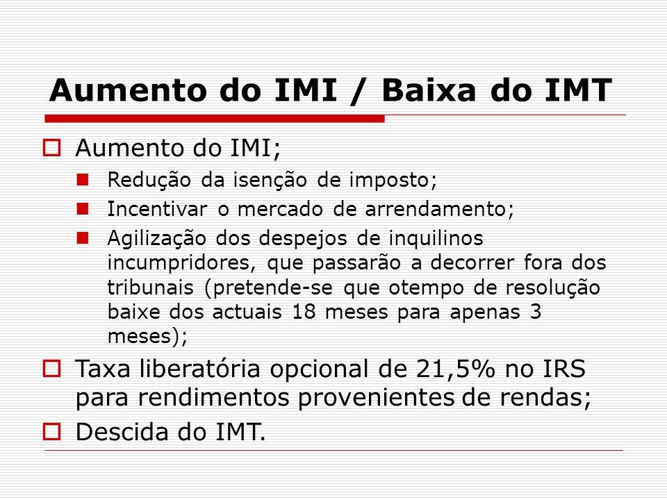 Aumento do IMI / Baixa do IMT Aumento do IMI; Redução da isenção de imposto; Incentivar o mercado de arrendamento; Agilização dos despejos de inquilin