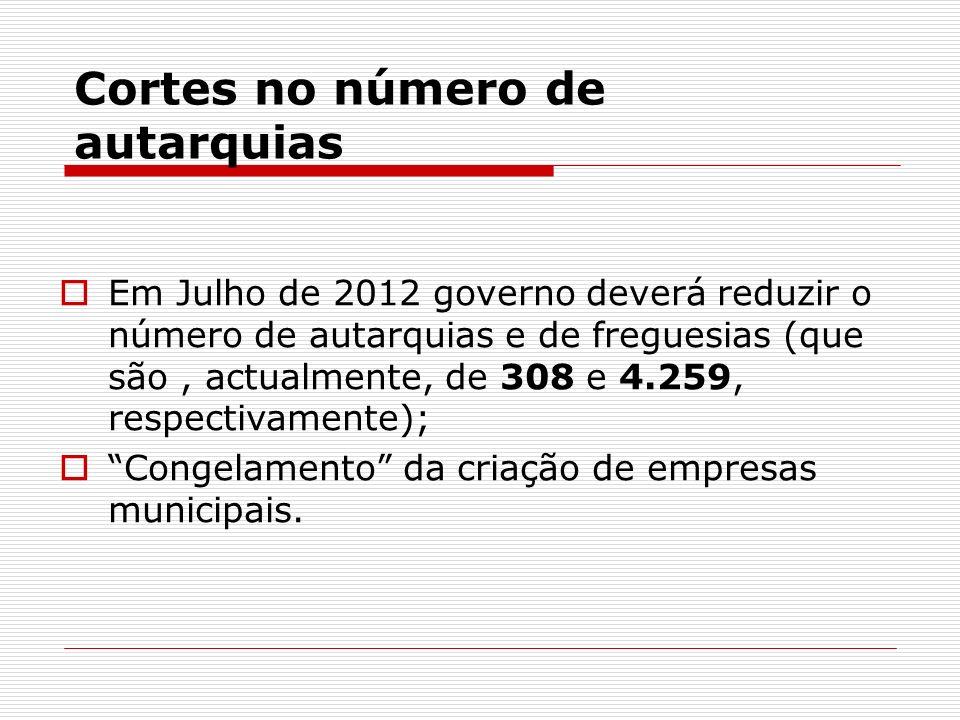 Cortes no número de autarquias Em Julho de 2012 governo deverá reduzir o número de autarquias e de freguesias (que são, actualmente, de 308 e 4.259, r