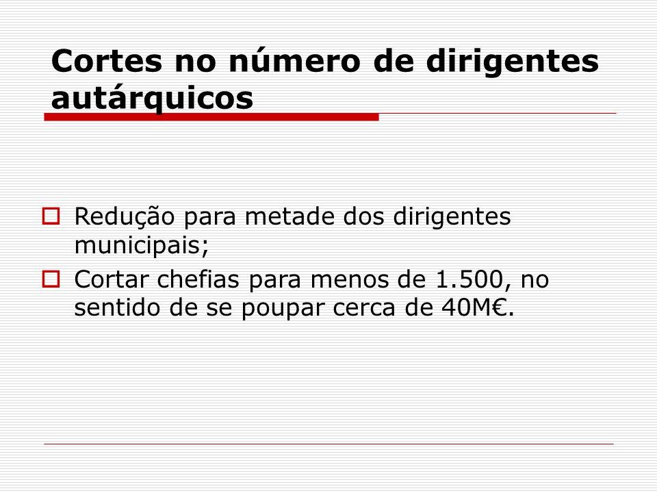 Cortes no número de dirigentes autárquicos Redução para metade dos dirigentes municipais; Cortar chefias para menos de 1.500, no sentido de se poupar