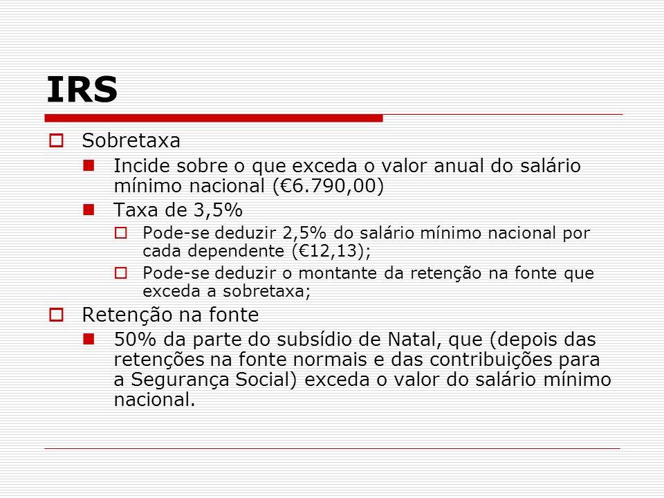 Sobretaxa Incide sobre o que exceda o valor anual do salário mínimo nacional (6.790,00) Taxa de 3,5% Pode-se deduzir 2,5% do salário mínimo nacional p