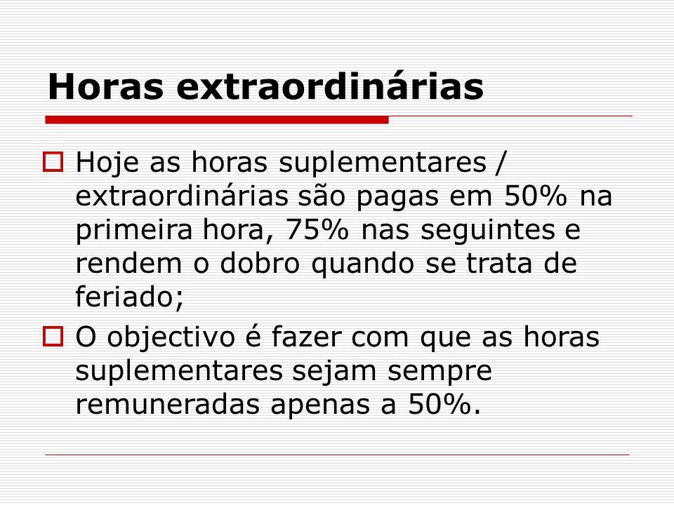Horas extraordinárias Hoje as horas suplementares / extraordinárias são pagas em 50% na primeira hora, 75% nas seguintes e rendem o dobro quando se tr
