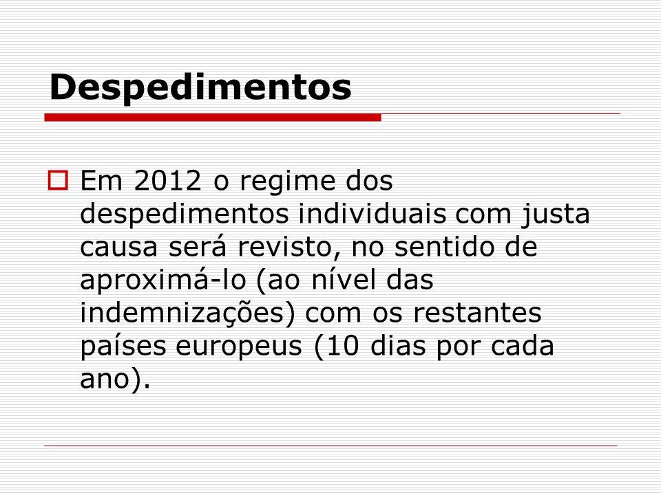 Despedimentos Em 2012 o regime dos despedimentos individuais com justa causa será revisto, no sentido de aproximá-lo (ao nível das indemnizações) com