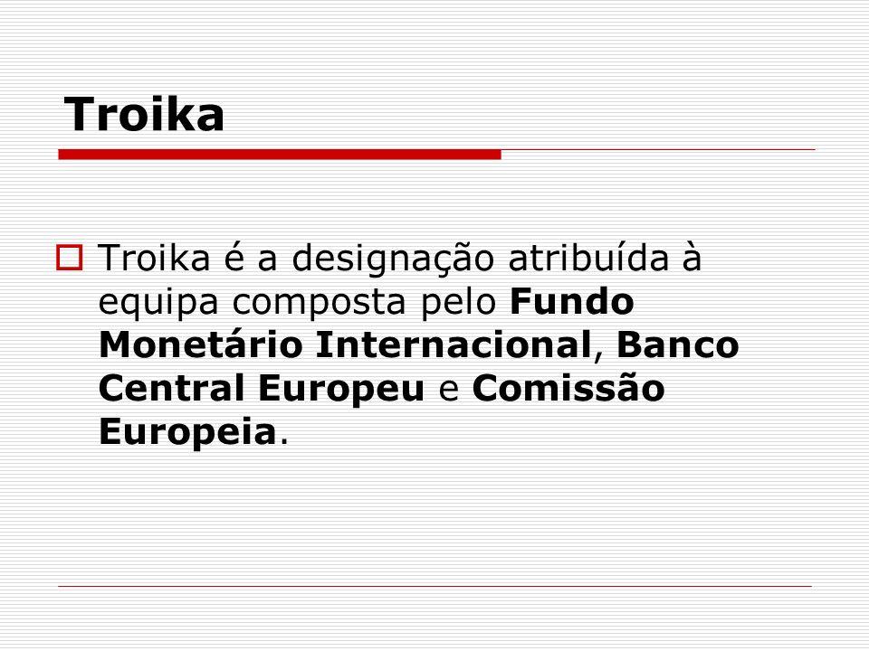 Troika Troika é a designação atribuída à equipa composta pelo Fundo Monetário Internacional, Banco Central Europeu e Comissão Europeia.