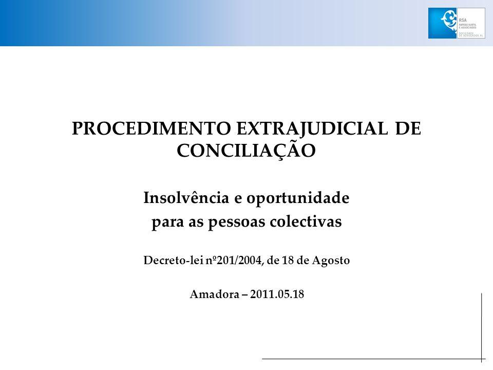 SUSPENSÃO DO DEVER DE APRESENTAÇÃO À INSOLVÊNCIA Artigo 1º (Decreto-lei nº201/2004) (…) 4 – A apresentação de requerimento de procedimento de conciliação pela empresa suspende, durante a pendência do procedimento, o prazo para apresentação à insolvência fixado no artigo 18º do CIRE.
