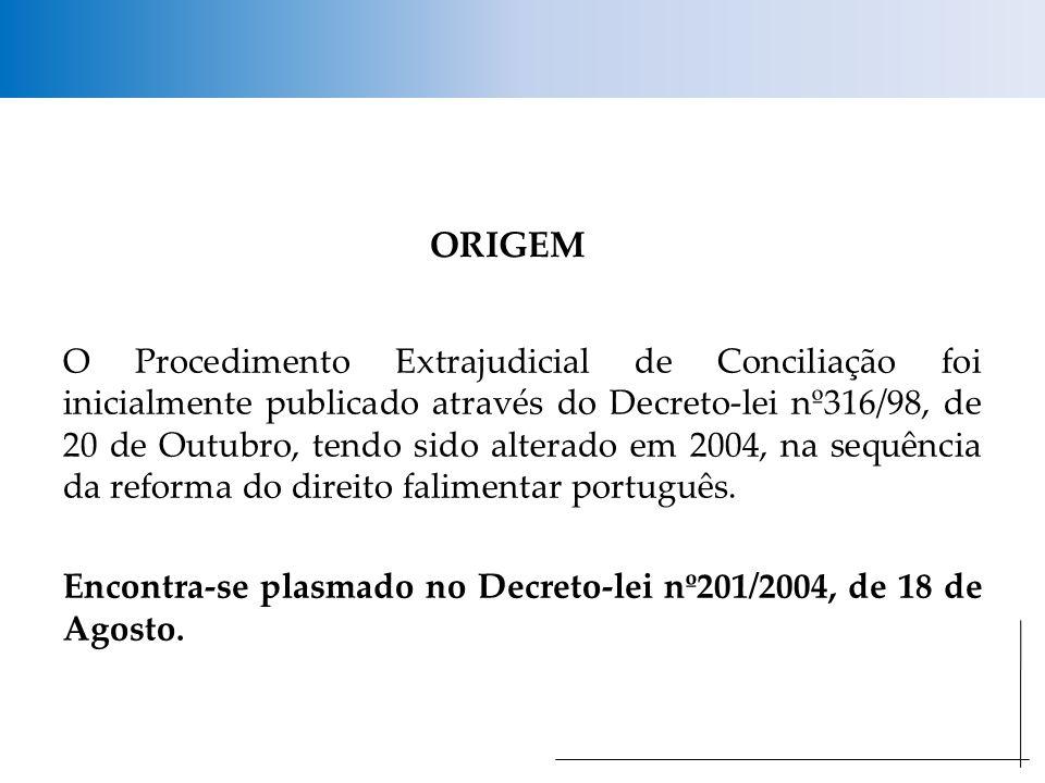 ORIGEM O Procedimento Extrajudicial de Conciliação foi inicialmente publicado através do Decreto-lei nº316/98, de 20 de Outubro, tendo sido alterado em 2004, na sequência da reforma do direito falimentar português.