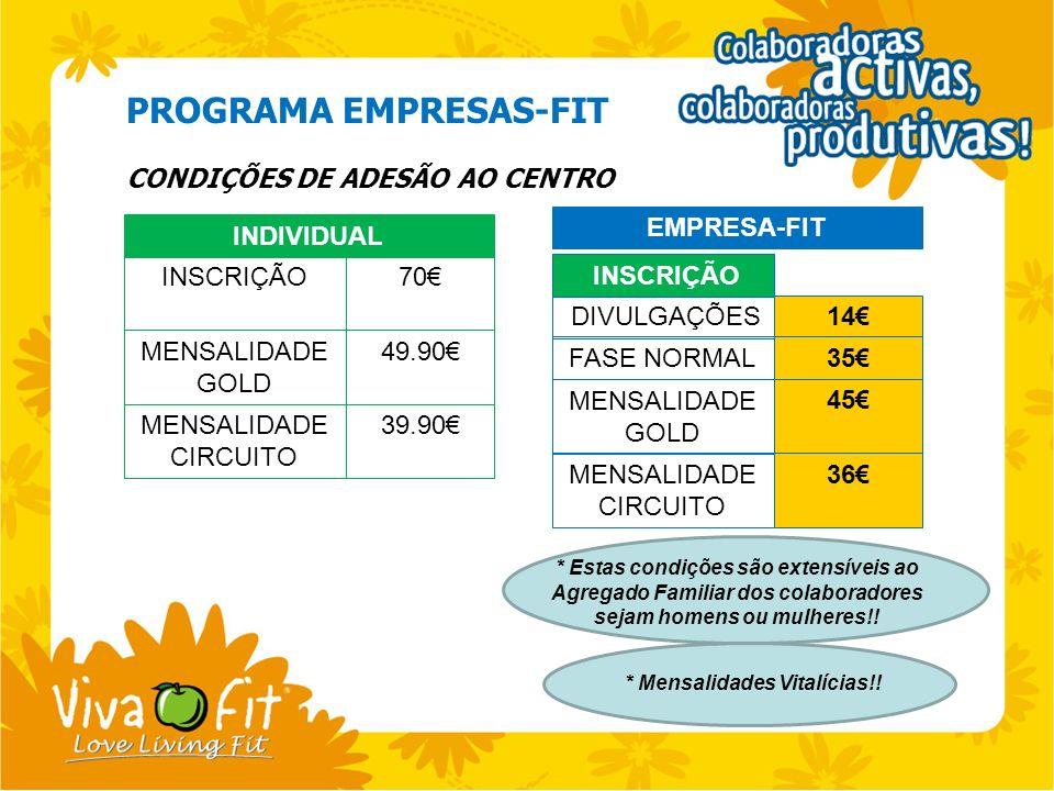 PROGRAMA EMPRESAS-FIT CONDIÇÕES DE ADESÃO AO CENTRO INDIVIDUAL INSCRIÇÃO70 MENSALIDADE GOLD 49.90 MENSALIDADE CIRCUITO 39.90 EMPRESA-FIT DIVULGAÇÕES14