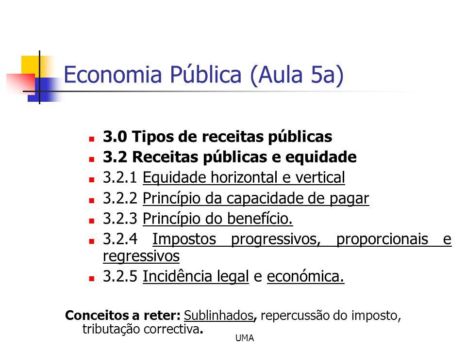 UMA Economia Pública (Aula 5a) 3.0 Tipos de receitas públicas 3.2 Receitas públicas e equidade 3.2.1 Equidade horizontal e vertical 3.2.2 Princípio da