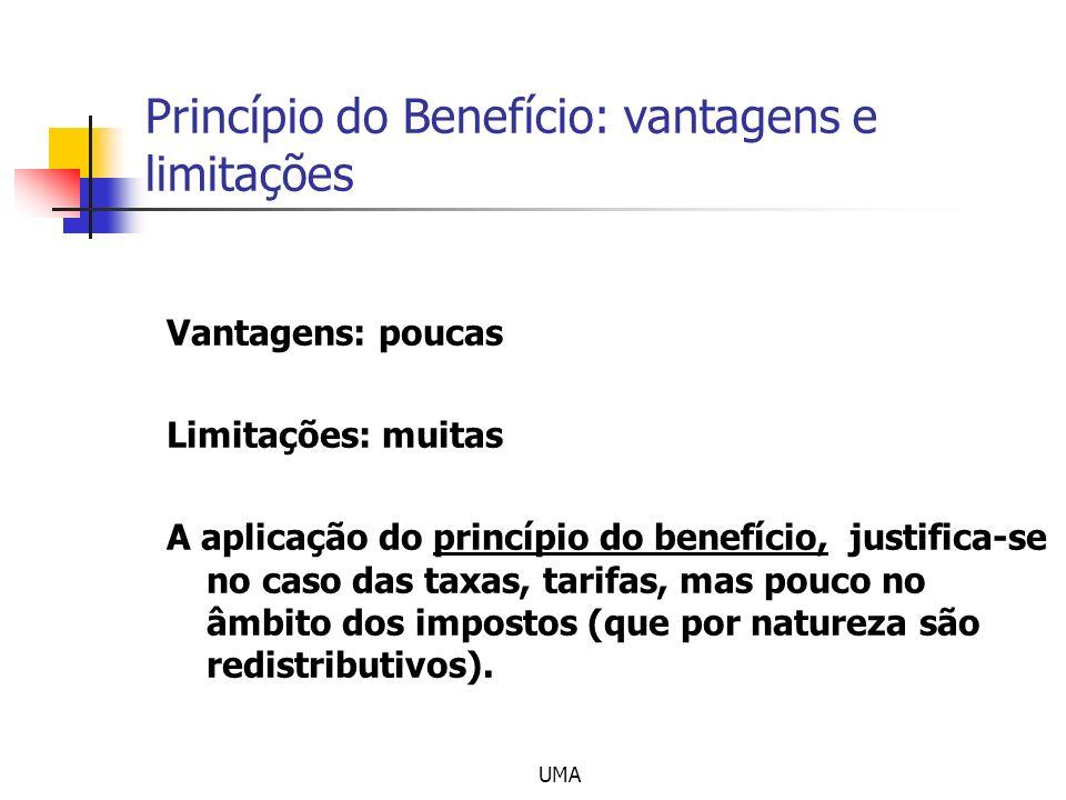 UMA Princípio do Benefício: vantagens e limitações Vantagens: poucas Limitações: muitas A aplicação do princípio do benefício, justifica-se no caso da