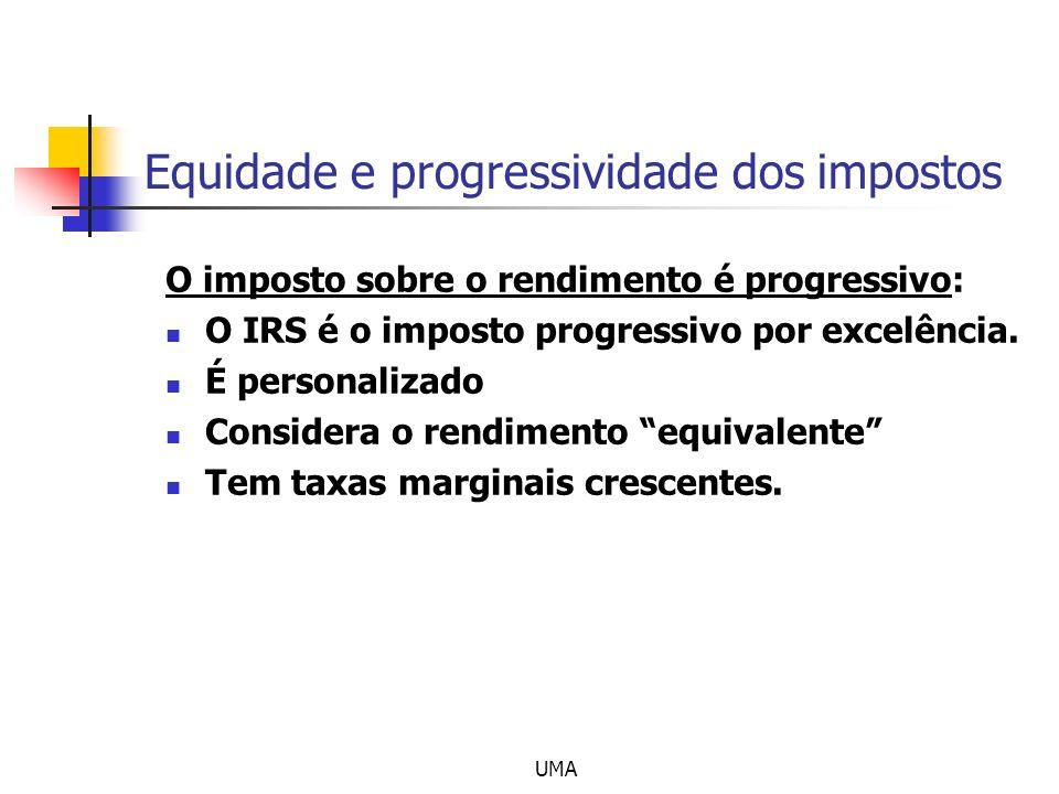 UMA Equidade e progressividade dos impostos O imposto sobre o rendimento é progressivo: O IRS é o imposto progressivo por excelência. É personalizado