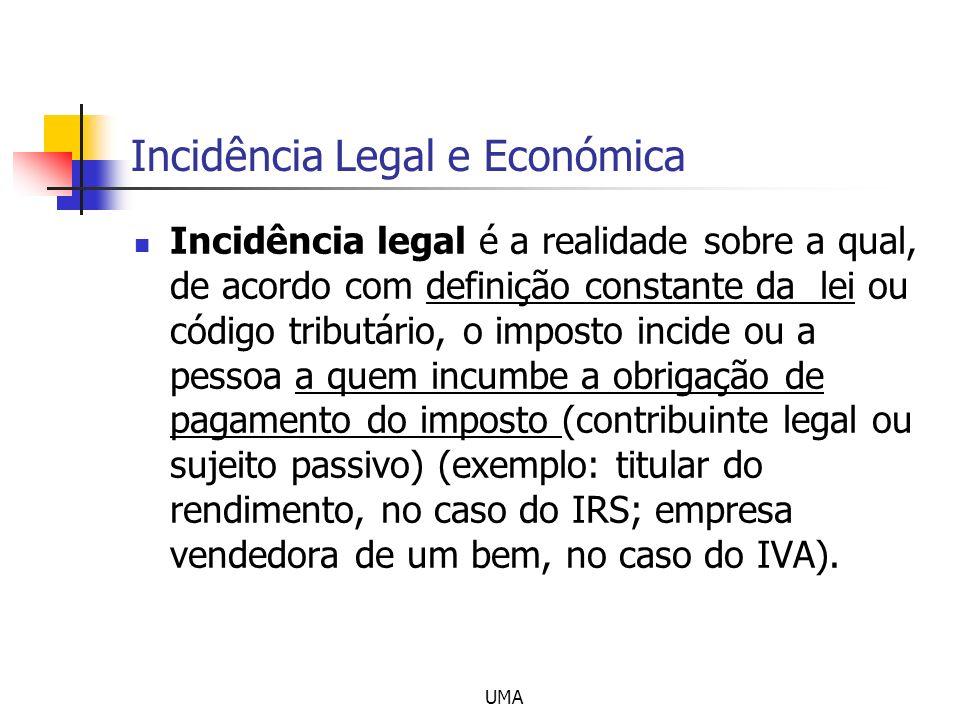 UMA Incidência Legal e Económica Incidência legal é a realidade sobre a qual, de acordo com definição constante da lei ou código tributário, o imposto