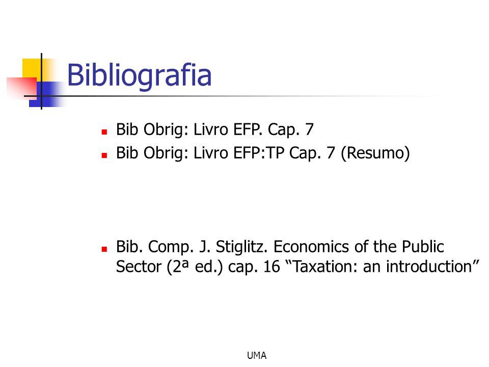 UMA Bibliografia Bib Obrig: Livro EFP. Cap. 7 Bib Obrig: Livro EFP:TP Cap. 7 (Resumo) Bib. Comp. J. Stiglitz. Economics of the Public Sector (2ª ed.)