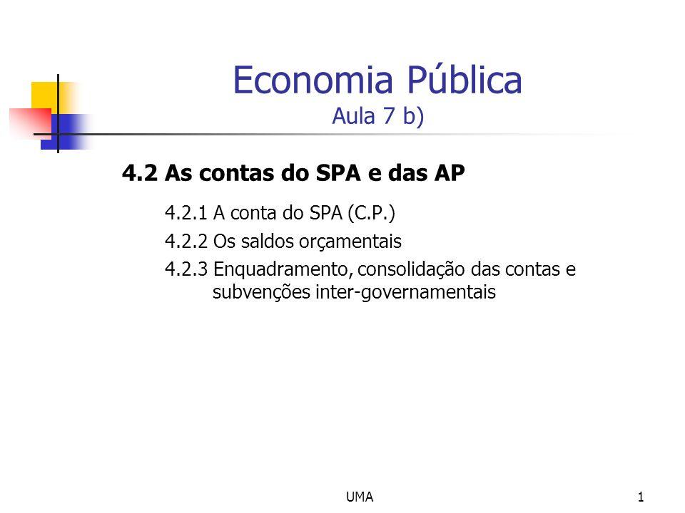 UMA1 Economia Pública Aula 7 b) 4.2 As contas do SPA e das AP 4.2.1 A conta do SPA (C.P.) 4.2.2 Os saldos orçamentais 4.2.3 Enquadramento, consolidaçã