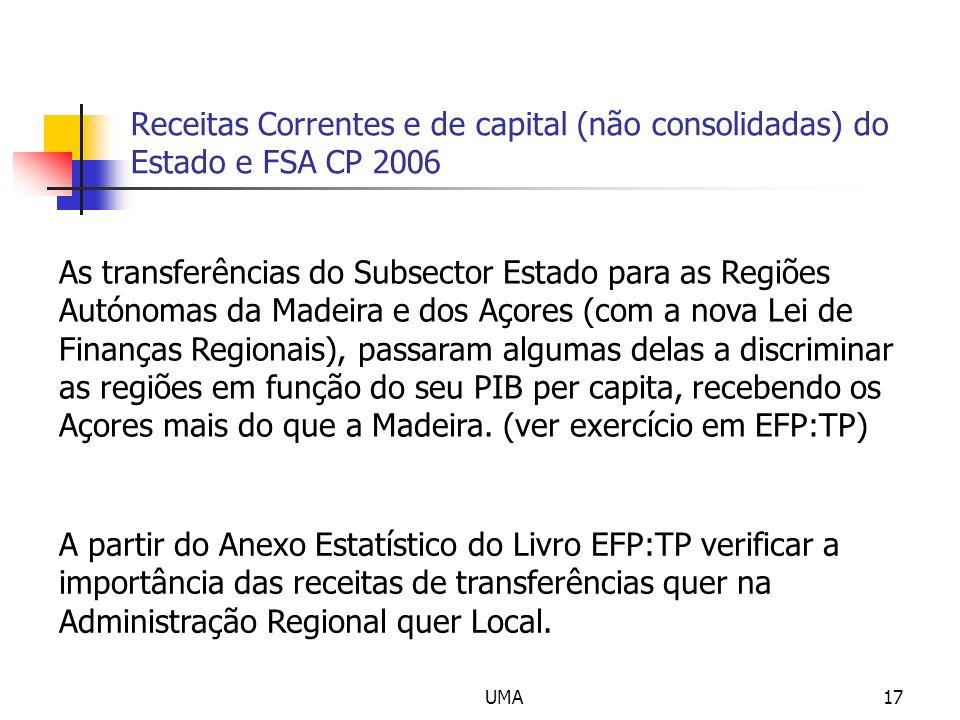 UMA17 Receitas Correntes e de capital (não consolidadas) do Estado e FSA CP 2006 A partir do Anexo Estatístico do Livro EFP:TP verificar a importância