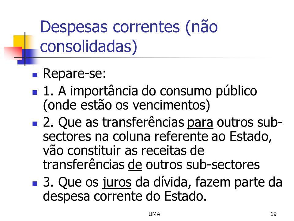 UMA19 Despesas correntes (não consolidadas) Repare-se: 1. A importância do consumo público (onde estão os vencimentos) 2. Que as transferências para o