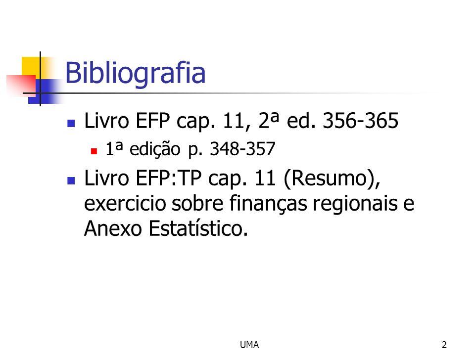 UMA2 Bibliografia Livro EFP cap. 11, 2ª ed. 356-365 1ª edição p. 348-357 Livro EFP:TP cap. 11 (Resumo), exercicio sobre finanças regionais e Anexo Est