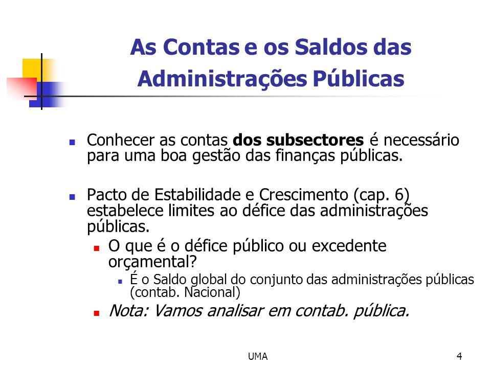 UMA4 As Contas e os Saldos das Administrações Públicas Conhecer as contas dos subsectores é necessário para uma boa gestão das finanças públicas. Pact