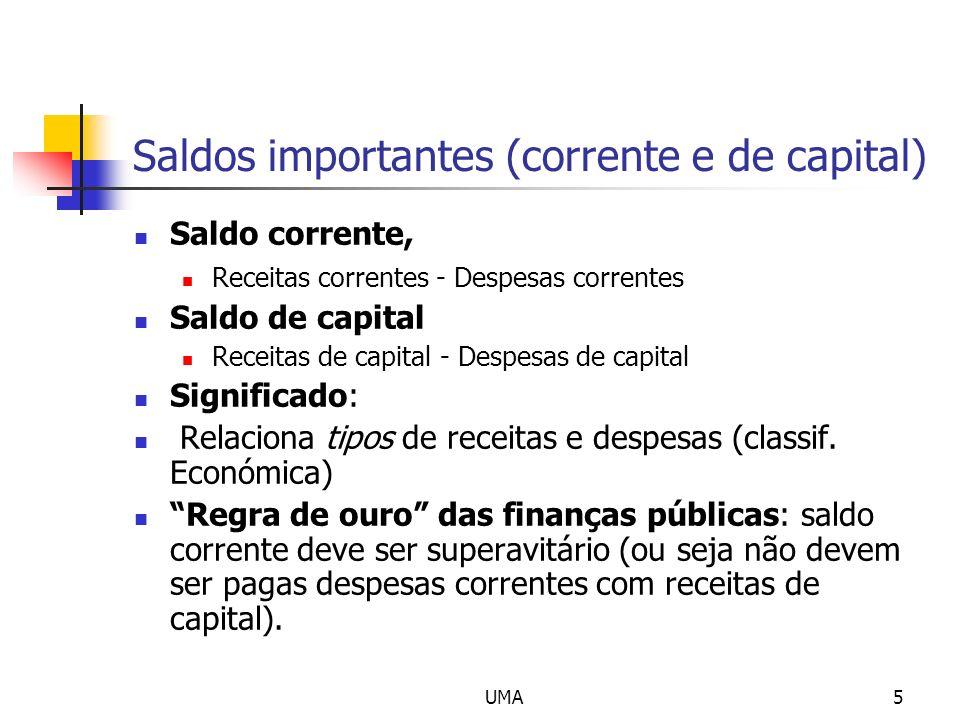 UMA5 Saldos importantes (corrente e de capital) Saldo corrente, Receitas correntes - Despesas correntes Saldo de capital Receitas de capital - Despesa