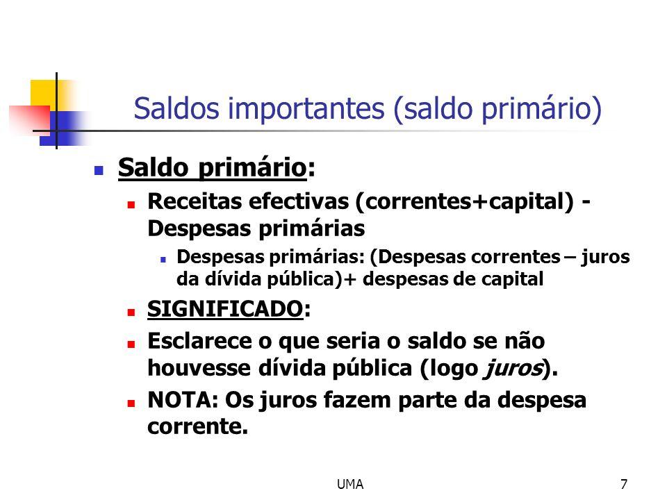 UMA7 Saldos importantes (saldo primário) Saldo primário: Receitas efectivas (correntes+capital) - Despesas primárias Despesas primárias: (Despesas cor