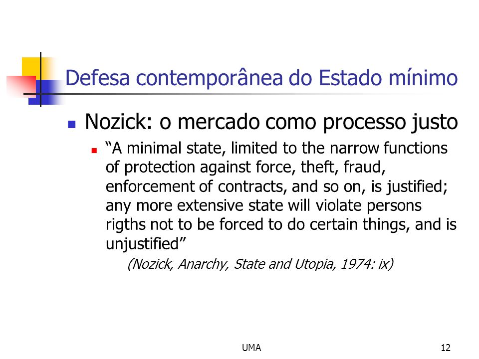 UMA12 Defesa contemporânea do Estado mínimo Nozick: o mercado como processo justo A minimal state, limited to the narrow functions of protection again