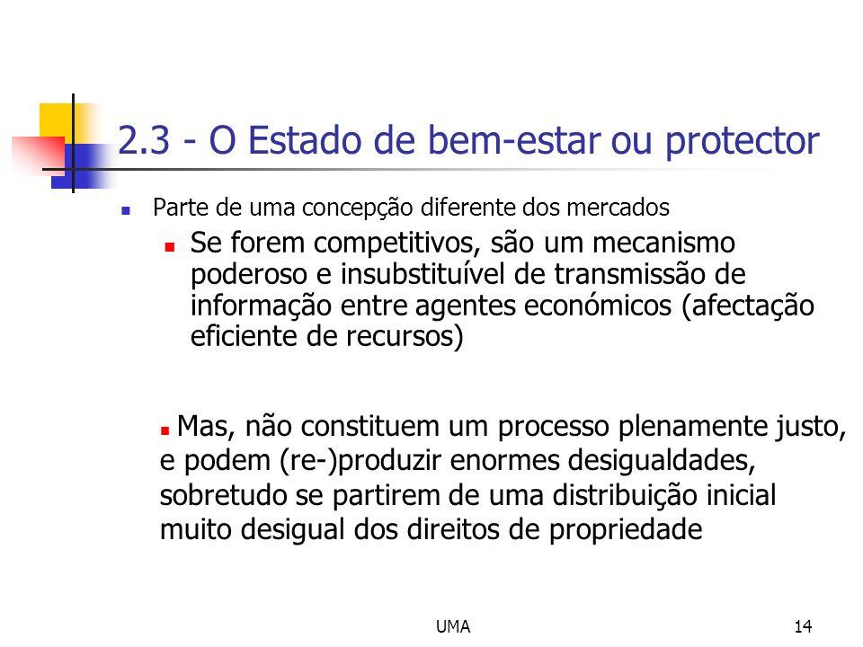 UMA14 2.3 - O Estado de bem-estar ou protector Parte de uma concepção diferente dos mercados Se forem competitivos, são um mecanismo poderoso e insubs