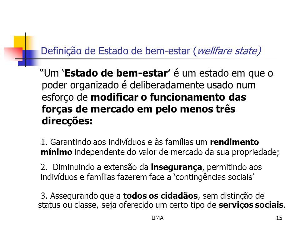 UMA15 Definição de Estado de bem-estar (wellfare state) Um Estado de bem-estar é um estado em que o poder organizado é deliberadamente usado num esfor