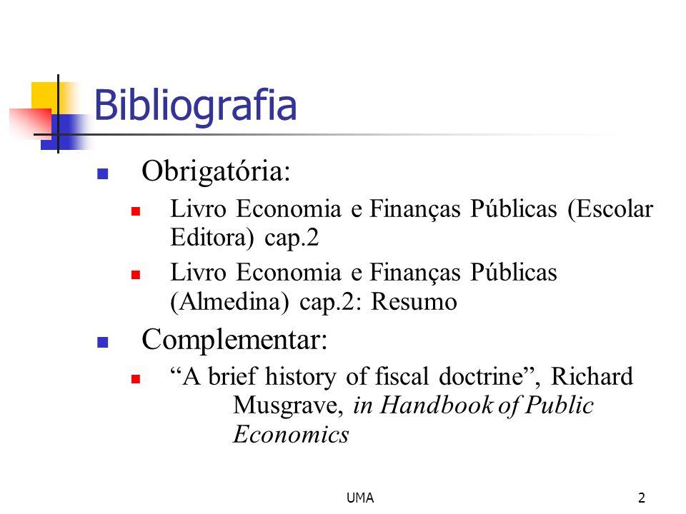 UMA2 Bibliografia Obrigatória: Livro Economia e Finanças Públicas (Escolar Editora) cap.2 Livro Economia e Finanças Públicas (Almedina) cap.2: Resumo