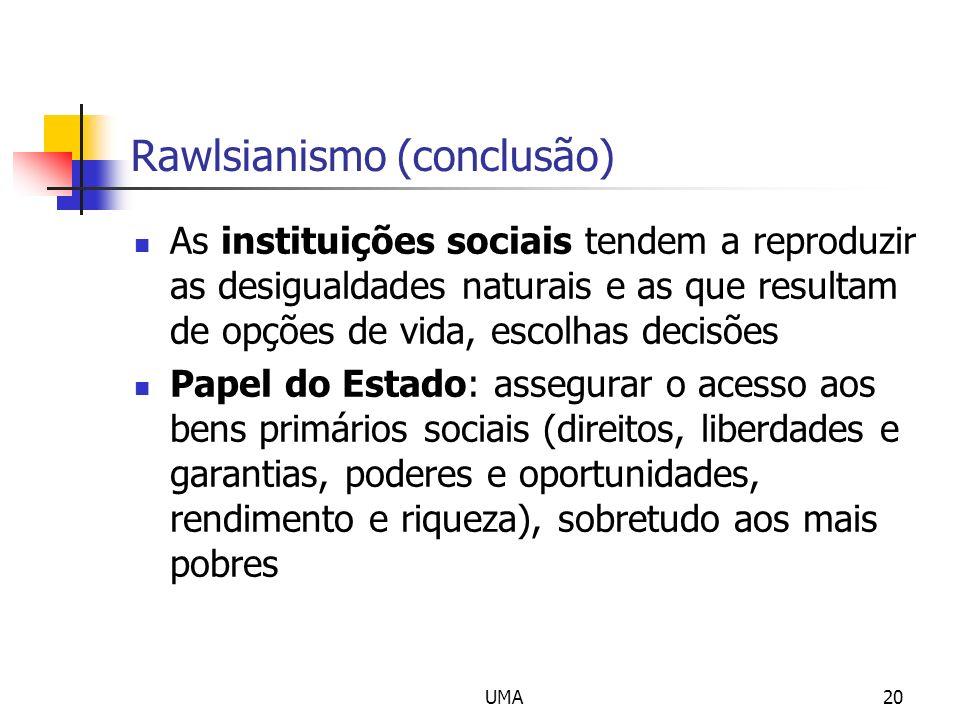 UMA20 Rawlsianismo (conclusão) As instituições sociais tendem a reproduzir as desigualdades naturais e as que resultam de opções de vida, escolhas dec