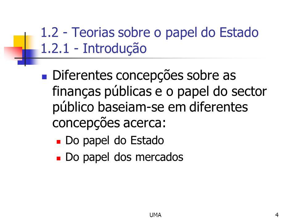 UMA4 1.2 - Teorias sobre o papel do Estado 1.2.1 - Introdução Diferentes concepções sobre as finanças públicas e o papel do sector público baseiam-se
