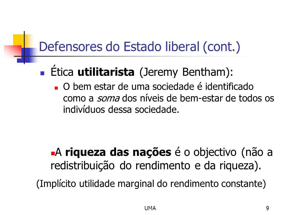 UMA9 Defensores do Estado liberal (cont.) Ética utilitarista (Jeremy Bentham): O bem estar de uma sociedade é identificado como a soma dos níveis de b