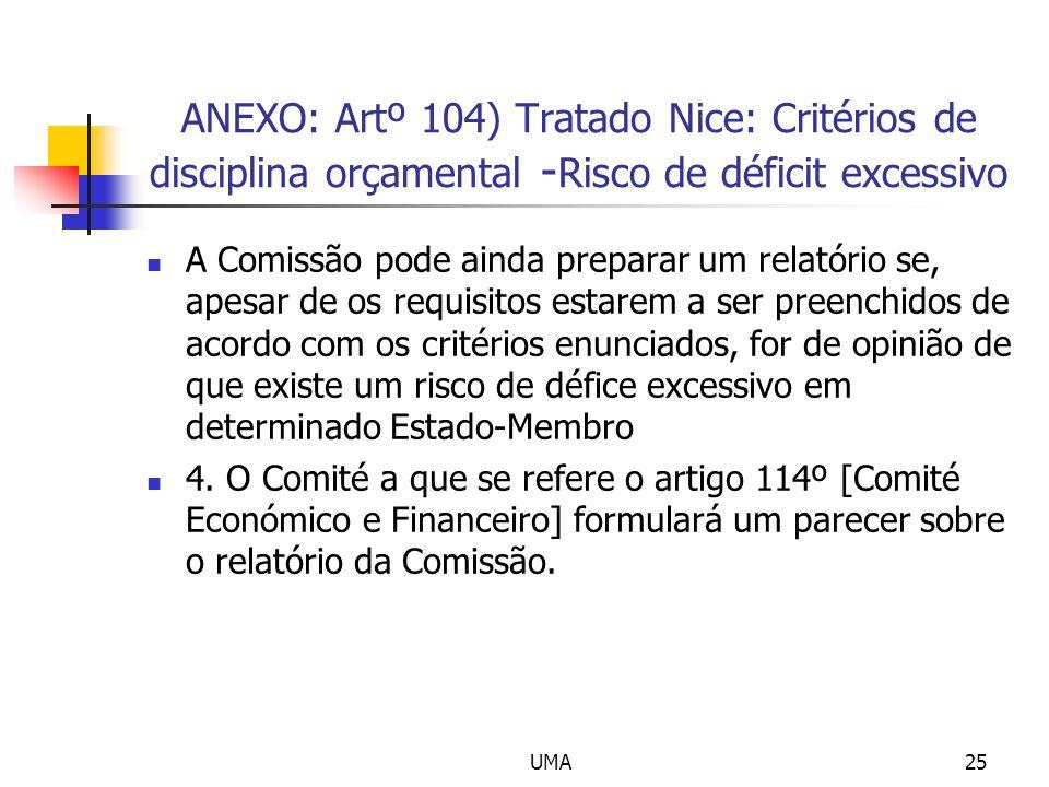 UMA25 ANEXO: Artº 104) Tratado Nice: Critérios de disciplina orçamental - Risco de déficit excessivo A Comissão pode ainda preparar um relatório se, apesar de os requisitos estarem a ser preenchidos de acordo com os critérios enunciados, for de opinião de que existe um risco de défice excessivo em determinado Estado-Membro 4.