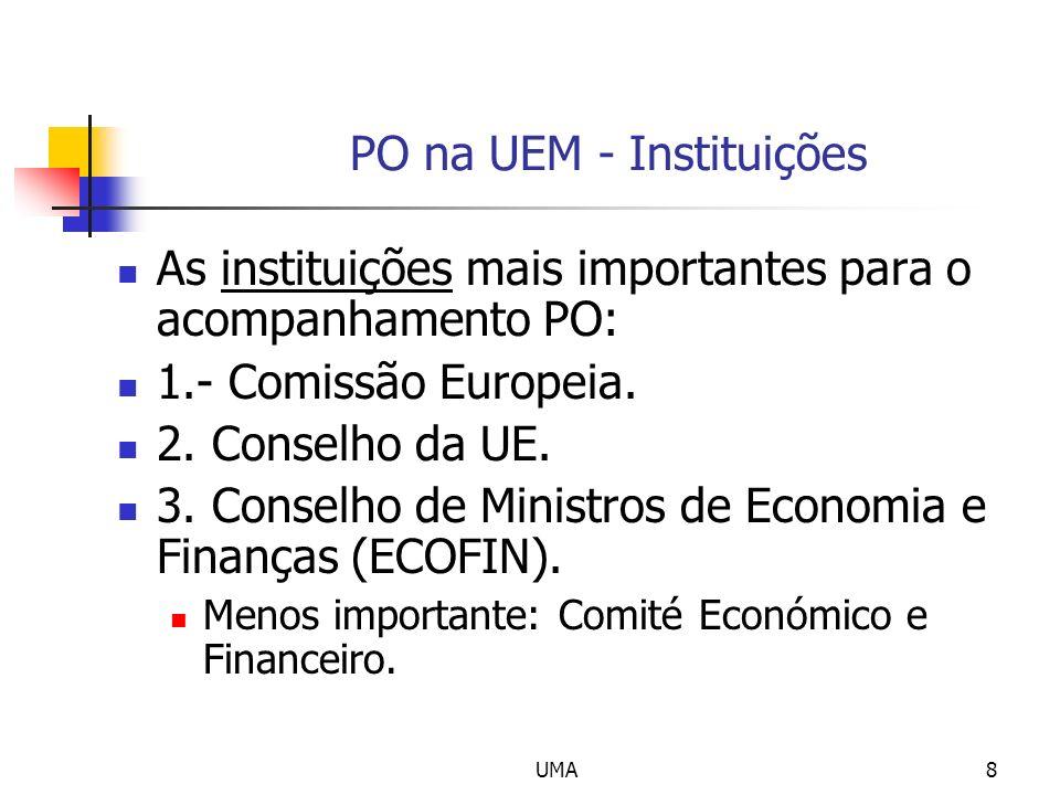 UMA8 PO na UEM - Instituições As instituições mais importantes para o acompanhamento PO: 1.- Comissão Europeia.