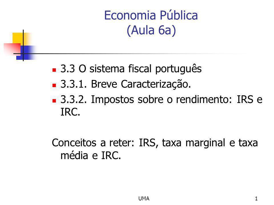 UMA1 Economia Pública (Aula 6a) 3.3 O sistema fiscal português 3.3.1. Breve Caracterização. 3.3.2. Impostos sobre o rendimento: IRS e IRC. Conceitos a
