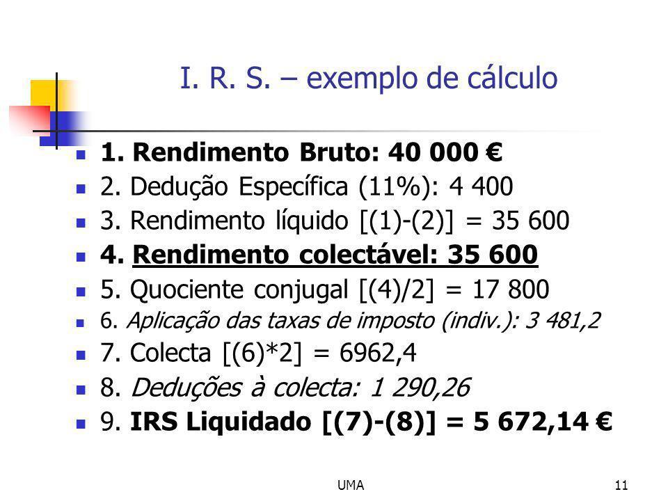 UMA11 I. R. S. – exemplo de cálculo 1. Rendimento Bruto: 40 000 2. Dedução Específica (11%): 4 400 3. Rendimento líquido [(1)-(2)] = 35 600 4. Rendime