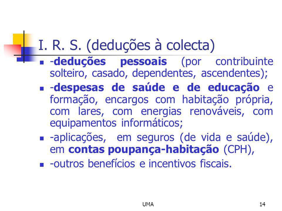 UMA14 I. R. S. (deduções à colecta) -deduções pessoais (por contribuinte solteiro, casado, dependentes, ascendentes); -despesas de saúde e de educação