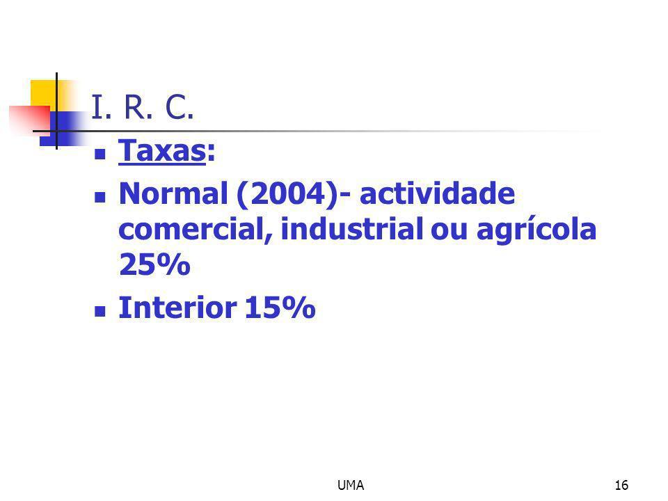 UMA16 I. R. C. Taxas: Normal (2004)- actividade comercial, industrial ou agrícola 25% Interior 15%