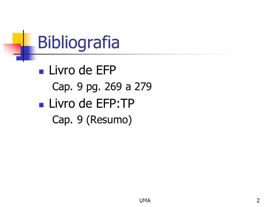 UMA2 Bibliografia Livro de EFP Cap. 9 pg. 269 a 279 Livro de EFP:TP Cap. 9 (Resumo)