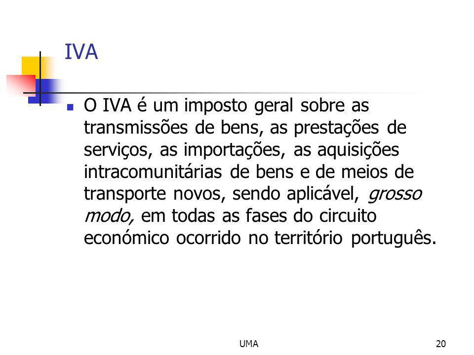 UMA20 IVA O IVA é um imposto geral sobre as transmissões de bens, as prestações de serviços, as importações, as aquisições intracomunitárias de bens e