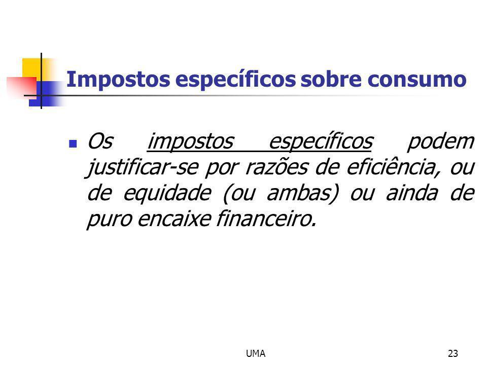 UMA23 Impostos específicos sobre consumo Os impostos específicos podem justificar-se por razões de eficiência, ou de equidade (ou ambas) ou ainda de p