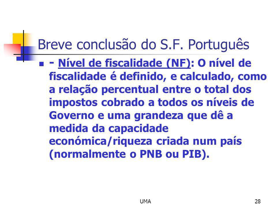 UMA28 Breve conclusão do S.F. Português - Nível de fiscalidade (NF): O nível de fiscalidade é definido, e calculado, como a relação percentual entre o